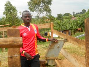 James Mujuni at Mugusu market borehole