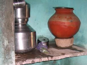 Water vessel and filter used in India